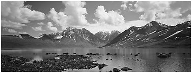 Mountain lake landscape. Lake Clark National Park (Panoramic black and white)
