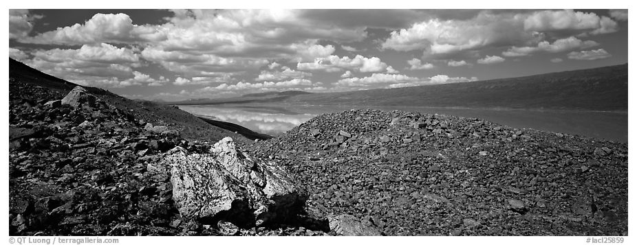 Rocky hills and lake. Lake Clark National Park (black and white)