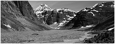 Valley, distant waterfall, and mountains. Lake Clark National Park (Panoramic black and white)