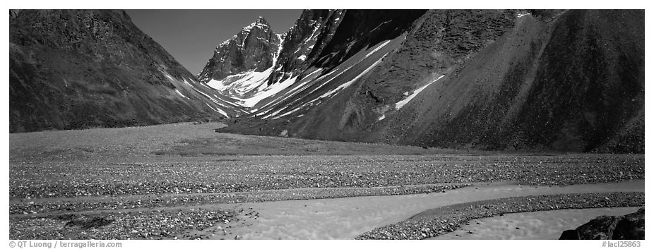 Valley with gravel bar surrounded by steep mountains. Lake Clark National Park (black and white)