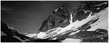 Rocky peaks with early summer snow. Lake Clark National Park (Panoramic black and white)