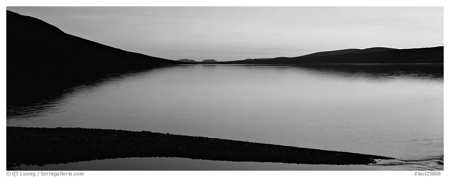 Lake reflecting sunset colors. Lake Clark National Park (black and white)