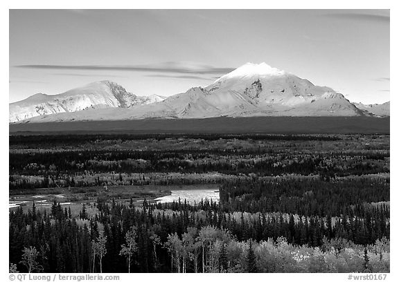 Mt Sanford and Mt Drum, late afternoon. Wrangell-St Elias National Park (black and white)