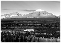 Mt Sanford and Mt Drum, late afternoon. Wrangell-St Elias National Park, Alaska, USA. (black and white)