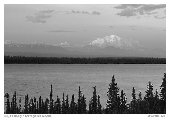 Mt Blackburn above Willow lake, sunset. Wrangell-St Elias National Park (black and white)
