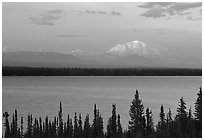 Mt Blackburn above Willow lake, sunset. Wrangell-St Elias National Park, Alaska, USA. (black and white)