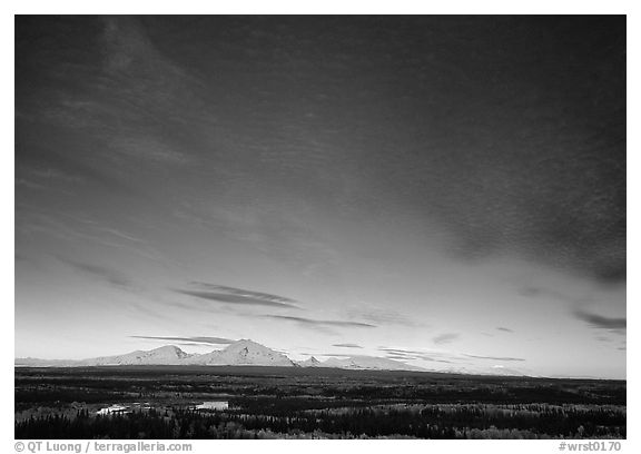 The Wrangell mountains seen from the west, sunset. Wrangell-St Elias National Park (black and white)