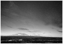 The Wrangell mountains seen from the west, sunset. Wrangell-St Elias National Park, Alaska, USA. (black and white)