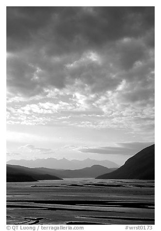 Sky and Copper River. Wrangell-St Elias National Park (black and white)