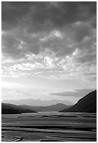 Sky and Copper River. Wrangell-St Elias National Park, Alaska, USA. (black and white)