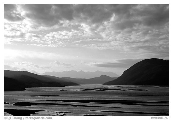 Wide valley with Copper river in the foregroud, Chitina river in the far. Wrangell-St Elias National Park (black and white)