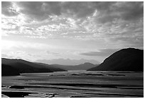 Wide valley with Copper river in the foregroud, Chitina river in the far. Wrangell-St Elias National Park ( black and white)