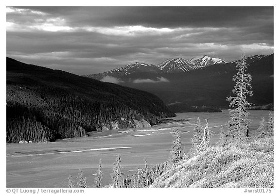 Chitina river valley, snowy peaks, and storm light. Wrangell-St Elias National Park (black and white)