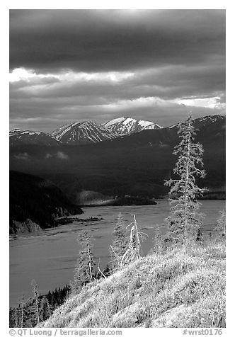 Chitina river under dark clouds. Wrangell-St Elias National Park (black and white)