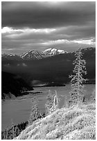 Chitina river under dark clouds. Wrangell-St Elias National Park, Alaska, USA. (black and white)