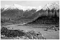 Kennicott river and Wrangell mountains. Wrangell-St Elias National Park, Alaska, USA. (black and white)