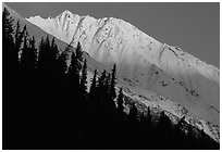 Bonanza ridge near Kennicott, sunset. Wrangell-St Elias National Park, Alaska, USA. (black and white)
