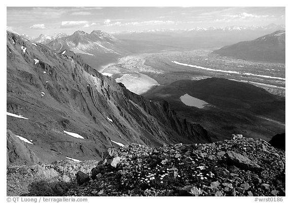Mountain landscape with glacier seen from above. Wrangell-St Elias National Park (black and white)