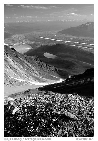 Junction of Kennicott and Root glaciers seen from Mt Donoho, late afternoon. Wrangell-St Elias National Park (black and white)