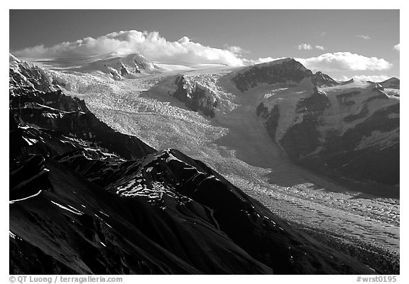 Root glacier seen from Mt Donoho, morning. Wrangell-St Elias National Park (black and white)