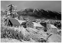 Kennicott historic mine town, late afternoon. Wrangell-St Elias National Park ( black and white)