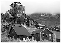 Kennicott historic copper mine and clouds. Wrangell-St Elias National Park ( black and white)