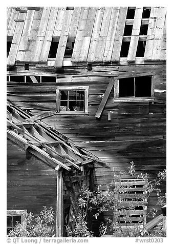 Damaged roof and walls, Kennicott mine. Wrangell-St Elias National Park (black and white)