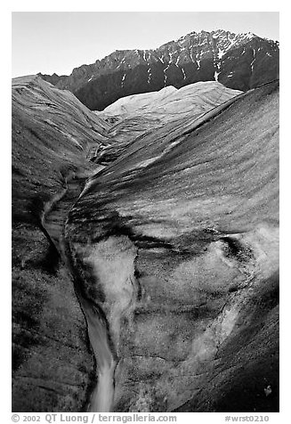 Root Glacier with glacial stream, and mountains. Wrangell-St Elias National Park (black and white)