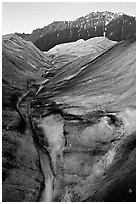 Root Glacier with glacial stream, and mountains. Wrangell-St Elias National Park ( black and white)