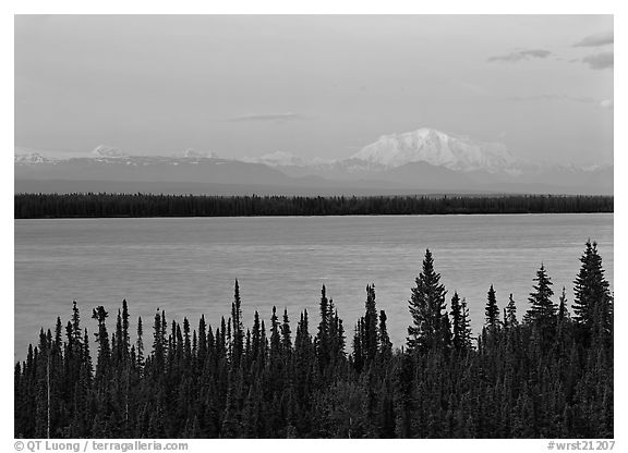 Wrangell range and Mt Blackburn above Willow Lake with pink sunset hues. Wrangell-St Elias National Park (black and white)