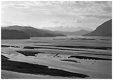 Wide Copper and Chitina rivers. Wrangell-St Elias National Park ( black and white)