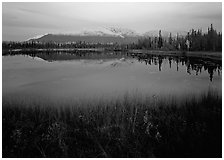 Pond with mountain reflections at dusk, near Chokosna. Wrangell-St Elias National Park, Alaska, USA. (black and white)