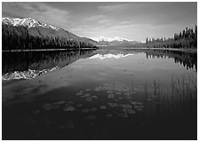 Crystalline Hills and Crystal Lake. Wrangell-St Elias National Park, Alaska, USA. (black and white)