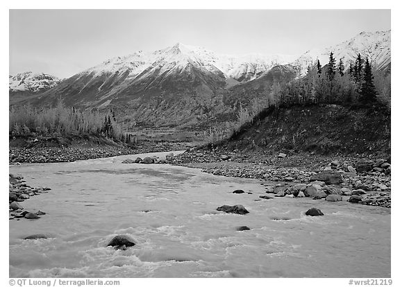 Kennicott River and snow-covered Bonanza ridge. Wrangell-St Elias National Park (black and white)