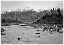 Kennicott River and snow-covered Bonanza ridge. Wrangell-St Elias National Park ( black and white)