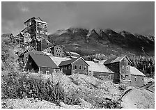 Kennecott abandonned mining buildings. Wrangell-St Elias National Park, Alaska, USA. (black and white)