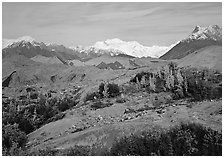 Mt Wrangell and Root Glacier moraines seen from Kenicott. Wrangell-St Elias National Park ( black and white)