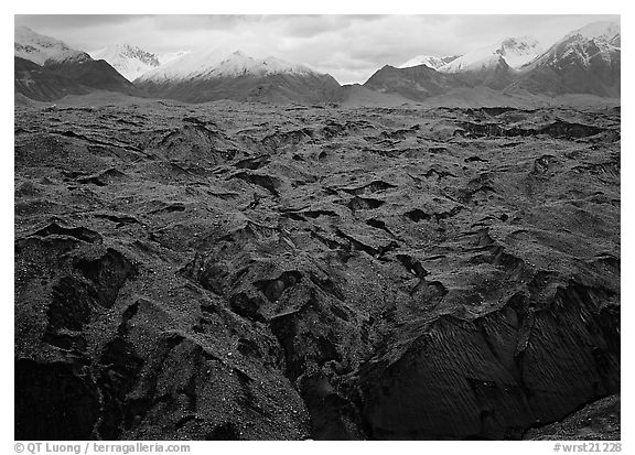 Glacier covered with black rocks. Wrangell-St Elias National Park (black and white)