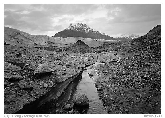 Mt Donoho above Root glacier. Wrangell-St Elias National Park (black and white)