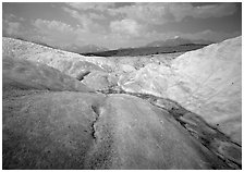 Root Glacier with stream on ice. Wrangell-St Elias National Park ( black and white)
