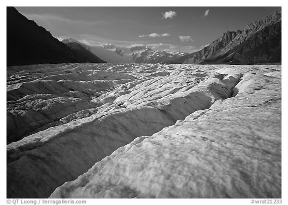 Crevasses and Root Glacier, afternoon. Wrangell-St Elias National Park, Alaska, USA.