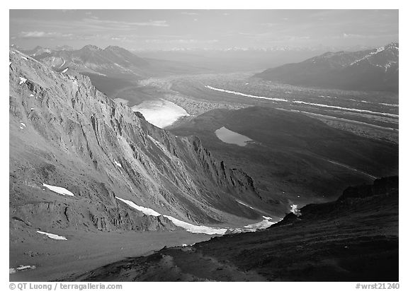 View over hazy Chugach mountains and Kennicott Glacier from Mt Donoho. Wrangell-St Elias National Park (black and white)