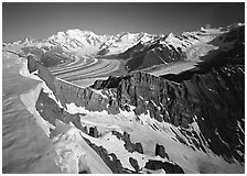 Corniche and view of glaciers and Mt Blackburn range. Wrangell-St Elias National Park ( black and white)