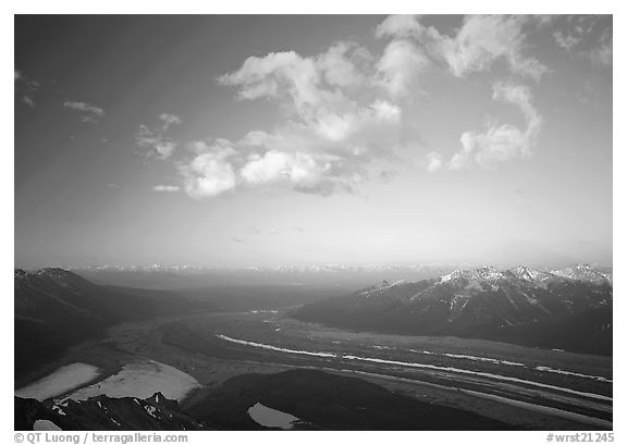 Kennicott Glacier, Chugach mountains, and clouds from Mt Donoho, sunrise. Wrangell-St Elias National Park (black and white)