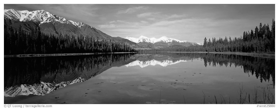 Lake and snowy peaks. Wrangell-St Elias National Park (black and white)