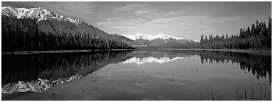 Lake and snowy peaks. Wrangell-St Elias National Park (Panoramic black and white)