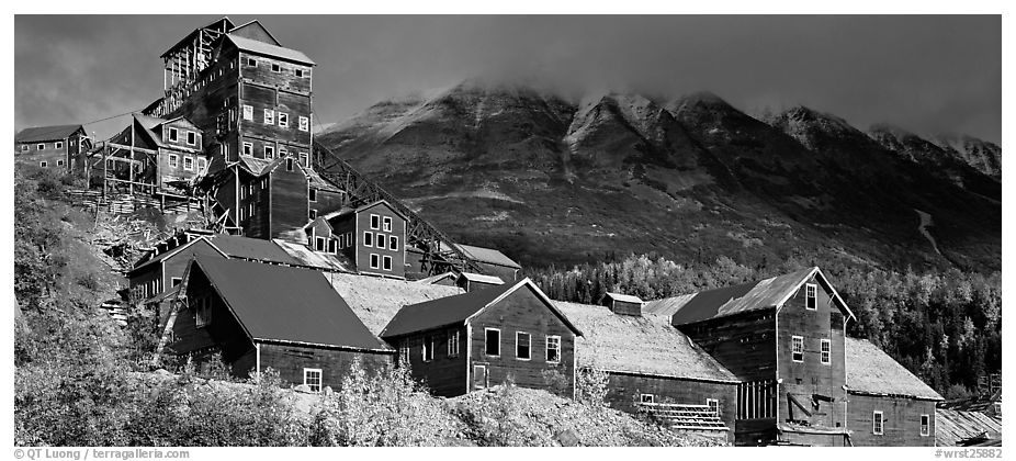 Historic Copper mill, Kennicott. Wrangell-St Elias National Park (black and white)