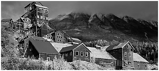 Historic Copper mill, Kennicott. Wrangell-St Elias National Park (Panoramic black and white)