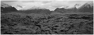Black glacier. Wrangell-St Elias National Park (Panoramic black and white)