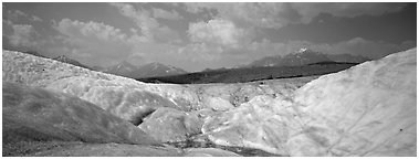 Glacier landscape. Wrangell-St Elias National Park (Panoramic black and white)